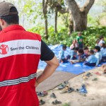 Sindhupawlchok: Nepal: 20MAY2015  Save the Children staff deliver new education kits to Sidhiganaesh Primary School in Melamchi, Nepal. Save the Children is working with the community to build the first Temporary Learning Space in Sindhupawlchok District since the 25 April 2015 earthquake.