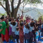 Sindhupawlchok: Nepal: 20MAY2015  Children go through organised activities at Temporary Learning Centre established by Save the Children at the Sidhiganaesh Primary School in Melamchi, Nepal. The school building suffered significant damage in the 25 April 2015 earthquake and is not usable.